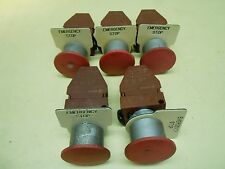 GE Push/Pull Emergency Stop Button with Contact Block and Tag , lot of 5