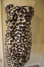 SEE by CHLOE Strapless SILK Dress Cream Black Brown 4 S Small