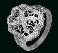 925 ECHT SILBER RHODINIERT *** Zirkonia Ring filigran , Gr. 50, 52, 60