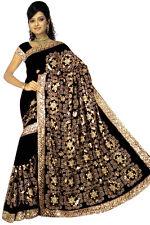 Black Bridal Bollywood Sequin Embroidery Sari Saree Costume Boho danse du ventre