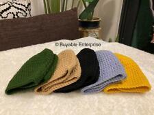 Handmade Plain Kopiah Kait Crochet Knitted Men Prayer Cap Milk Cotton Wool