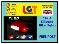 7 LED SILICONE BIKE BICYCLE CYCLE FRONT/REAR CAMPING BACKPACK SAFETY LIGHT SET