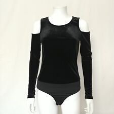 Shinestar Womens Sz Small Black Body Suit Velvet Cutout Shoulders Sexy Stretchy