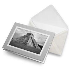 Greetings Card (Grey) BW - Chichen Itza Temple Maya Mexico  #41553
