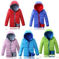 Kids Boys Girls Duck Down Jacket Coat Snowsuit Outerwear Winter Warm Hooded Gift