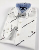 TOMMY HILFIGER Shirt Men's Slim Fit White Knit Oxford All Over Logo Print