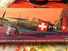 "TWO (2) KITS! Hasegawa Morane Saulnier D-3800 ""Swiss Air Force""; 1/72; 1995; OOP"