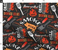 Barbecue On Black Cookout Bbq Food Pork Pig Fabric Printed by Spoonflower Bty