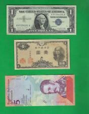 USA , JAPAN & VENEZUELA ~ 3 X OLD PAPER MONEY LOT # 4488 (*-*)