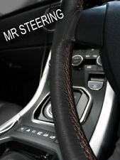 FOR PEUGEOT 505 1979-1992 BLACK LEATHER STEERING WHEEL COVER BROWN DOUBLE STITCH