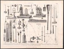1870 Gravure originale Science Physique instruments baromètre expériences