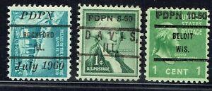 1960 3 PDPN HANDSTAMP DATED CCONROLS from ROCKFORD IL, DAVIS IL &  BELOIT WI