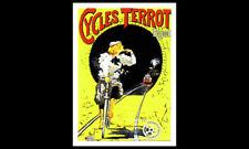Cycles Terrot Dijon France Cycling on Train Tracks POSTER Reprint (c.1901)