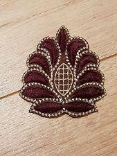 gold brown embroidery hotfix patch lace applique  dance dress costume decor