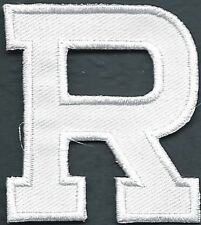 """1 3/4"""" x 2"""" White Monogram Block letter R Embroidery Patch"""