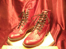 Womens JUSTIN red Size 4.5D Leather Boots-Roper Laceup Kiltie 504Y-free ship