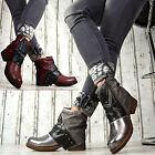 NUEVO Designer Zapatos Mujer Botas Botines Hebillas ROJO VINO PLATA