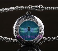 Steampunk dragonfly Cabochon Glass Gun Black Locket Pendant Necklace#A79