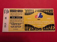 1969 Montreal Expos Original Home Opening season 1st game ticket stub