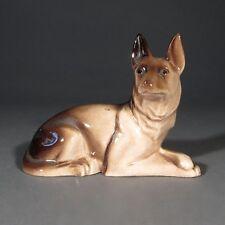 """Vintage French """"Desvres"""" Porcelain Figurine German Shepherd Dog, Stamped"""