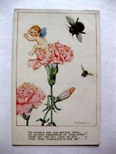 Vintage Fairy Being Chased From Carnation Flower by Bee Postcard by M Sowerby