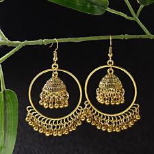 Indian Bollywood Jewelry Gold Drop Bell Dangle Wedding Jhumka Ethnic Earrings