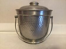 Vintage Mid Century Italy Ice Bucket Hammered Aluminum B-503 Double Walled Used