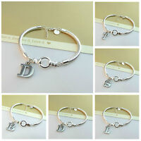 NEW ARRIVAL 925 SILVER PLATED BRACELET WITH INITIAL CHARM DESIGN-GIFT JEWELLERY