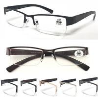 L402-A Semi-Rimless Metal Frame Gentle Reading Glasses/Spring Hinges Plastic Arm