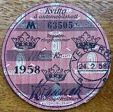 1958 Swedish Tax Disc Veberod Sweden Registration Number M 63505