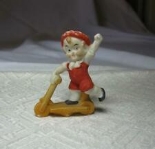 Boy on Scooter German Character Antique Miniature Bisque 1900 Germany Googly