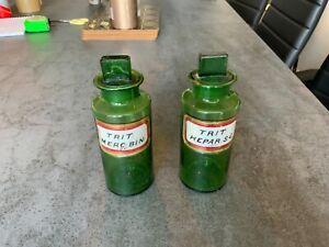 Antique Apothecary Jar/bottle x2 Green