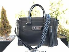 NWT Coach 38095 Black Rip & Repair Swagger Glovetanned Leather Carry All Bag