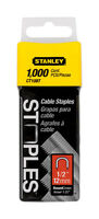 Stanley  1/2 in. L Galvanized Steel  Round Crown  Cable Staples  20 Ga. 1000 pk
