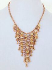 Joan Rivers New Necklace Mother of Pearl Mesh Bib Chain Link Rose Gold Tone