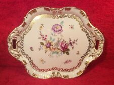 Antique Hand Painted German Porcelain Gold & Flowers Dresser Tray Platter