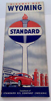 1950's  Wyoming Road Map  Standard Oil Inc Yellowstone & Grand Tetons WY 😎