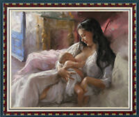 Hand-painted Original Oil Painting art Impressionism Mother and child on canvas