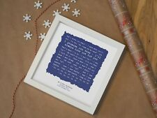More details for cold play 'sparks' - personalised framed song lyrics print