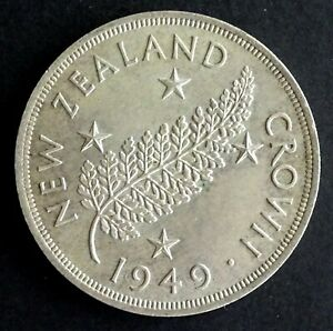 1949 New Zealand Crown 50% Silver - Fern, Proposed Royal Visit (A)