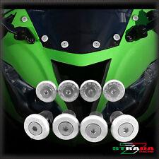 Strada 7 Racing CNC Pare-Brise Vis Carénage Kit 8pc Kawasaki ZX9 ZX9R Argent