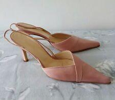 L K Bennett dusky pink satin mid heel pointy sling back wedding evening shoes 6