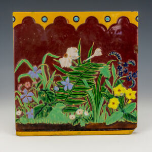Antique Minton Hollins & Co. - Large Majolica Glazed Flowers Tile