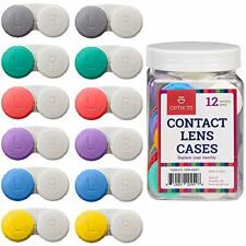Contact Lens Cases 12 Pack Assorted Separate Colors For Left/Right Eyes Durable