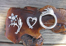 Vtg Sterling Silver 3 Brooches Heart, Leafy Flower, Circle Ridged Wave Design