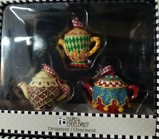 Mary Engelbreit Mini Teapot Ornament Me Ink Lot of 3 Holly Christmas New in Box.