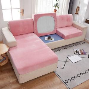 Velvet Sofa Seat Cushion Cover Thick Solid Soft Stretch Sofa Plush Slipcovers I1