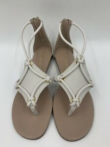 NIB BCBGeneration Sara T-Strap White Flat Sandals Women's Sz 9.5