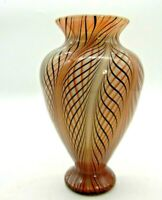 Lundberg Studios Art Glass Vase Pulled feather Swirl Peach and Black on Cream