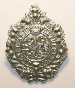 World War II White Metal Cap Badge, Argyll & Sutherland Hds, Excellent Condition